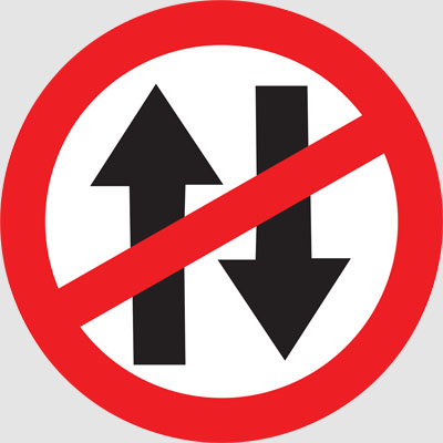 VEHICLE PROHIBITED IN BOTH DIRECTIONS